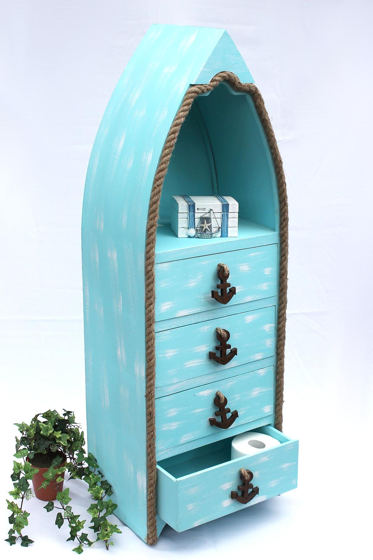 boot kommode 412 bl 117cm badregal blau shabby schrank badschrank badm bel regal kaufen bei. Black Bedroom Furniture Sets. Home Design Ideas