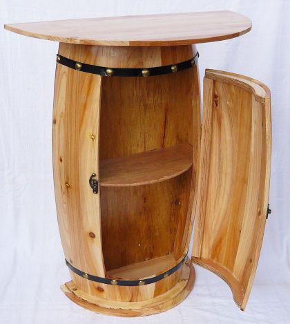 tisch weinfass schrank weinregal fass aus holz h 73cm. Black Bedroom Furniture Sets. Home Design Ideas