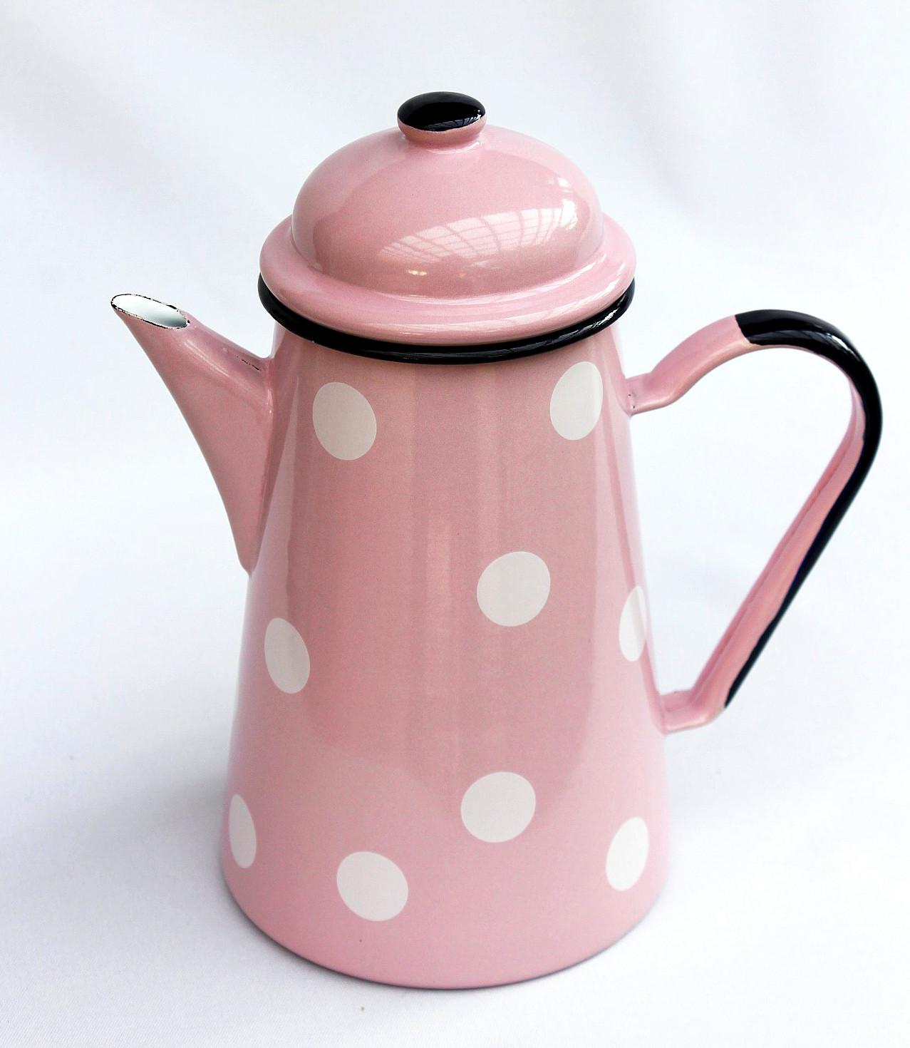 kaffeekanne 578tb rosa mit wei en punkten emailliert 22cm wasserkanne kanne emaille teekanne. Black Bedroom Furniture Sets. Home Design Ideas