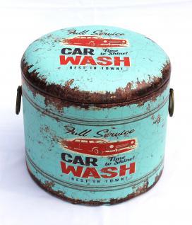 Sitzhocker Aufbewahrungsbox HK15 S Blau Car Wash 27cm aus MDF mit Kunstleder überzogen Hocker Tonne