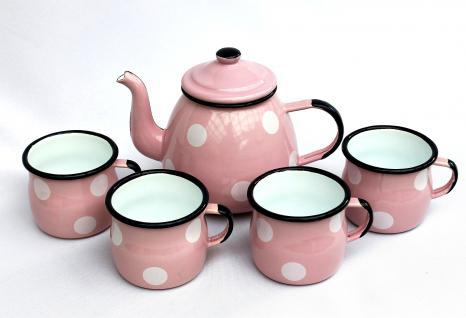 5 tlg. Set Teekanne + 4 Tassen 582AB+501w/7 Rosa mit weißen Punkten emailliert Emaille