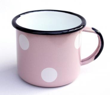 Emaille Tasse 501/8 Rosa mit weißen Punkten Becher emailliert 8 cm Kaffeebecher Kaffeetasse Teetasse