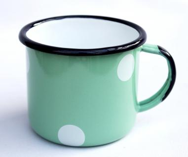 Emaille Tasse 501/8 Hellgrün mit weißen Punkten Becher emailliert 8 cm Kaffeebecher Kaffeetasse