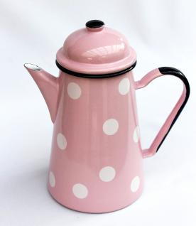 Kaffeekanne 578TB Rosa mit weißen Punkten emailliert 22cm Wasserkanne Kanne Emaille Teekanne