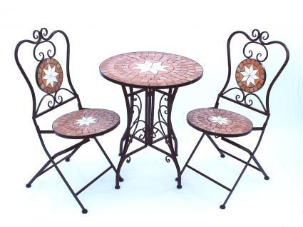 Sitzgruppe Merano 12001-2 Gartentisch + 2 Stk. Gartenstuhl aus Metall Mosaik Tisch + 2x Stuhl - Vorschau 4