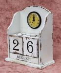 Uhr mit Kalender 14B142-WH Weiß Shabby Kaminuhr Standuhr 25cm Vintage Quarzuhr
