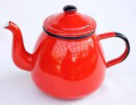 Teekanne 582AB Rot emailliert 14cm Wasserkanne Kanne Kaffeekanne Emaille Nostalgie
