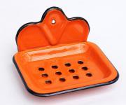Seifenhalter 618 Orange Seifenschale 13cm emailliert Landhaus Emaille Seifenspender
