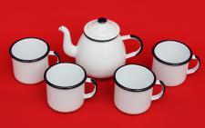 5 tlg. Set Teekanne + 4 Tassen 582AB+501/8 Weiß emailliert Kaffeekanne Emaille Email