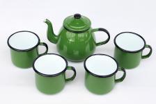 5 tlg. Set Teekanne + 4 Tassen 582AB+501/8 Grün emailliert Kaffeekanne Emaille Email