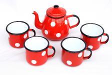 5 tlg. Set Teekanne + 4 Tassen 582AB+501/8 Rot mit Punkten emailliert Kaffeekanne Emaille Email
