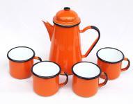 5 tlg. Set Kaffeekanne + 4 Tassen 578TB+501/8 Orange emailliert Teekanne Emaille Email