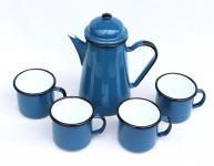5 tlg. Set Kaffeekanne + 4 Tassen 578TB+501/8 Blau emailliert Teekanne Emaille Email