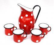 5 tlg. Set Wasserkanne + 4 Tassen Rot mit weißen Punkten 604/15+501/8 emailliert Kanne Emaille Email