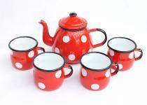 5 tlg. Set Teekanne + 4 Tassen 582AB+501w/7 Rot mit weißen Punkten emailliert Kaffeekanne Emaille