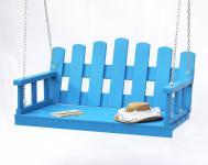 Hängebank Blau Schaukel mit Ketten und Auflage Gartenschaukel Hollywoodschaukel Hängesessel