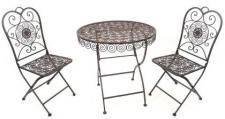 """Sitzgruppe """"Lumaca"""" 19410-11 Tisch mit 2 Stühle Set aus Metall Schmiedeeisen Gartentisch"""