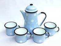 5 tlg. Set Kaffeekanne + 4 Tassen 578TB+501/8 Hellblau mit weißen Punkten emailliert Emaille Email