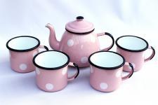 5 tlg. Set Teekanne + 4 Tassen 582AB+501/8 Rosa mit weißen Punkten emailliert Emaille Kanne Email