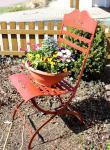 Stuhl Passion 3608 Gartenstuhl aus Metall Rot Blumenbank Blumenhocker