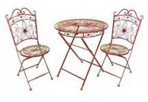 """Tisch mit 2 Stühle 18080-81 Set """"Cuori"""" aus Metall Rot Gartenstuhl Gartentisch"""