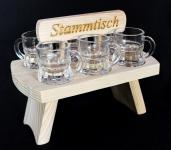 Schnapsbrett 20cm mit Gravur Stammtisch mit 6 Gläser Schnapslatte Schnapsleiste Schnapsrunde Serviertablett