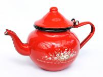 Teekanne BsB 83/07 Rot emailliert Wasserkanne Kanne Kaffeekanne Emaille Nostalgie