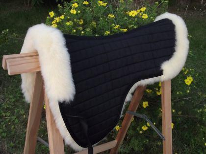 Sattelkissen Sattelpad aus echtem Lammfell - hohe lange tiefe Schulter ! - Vorschau 1