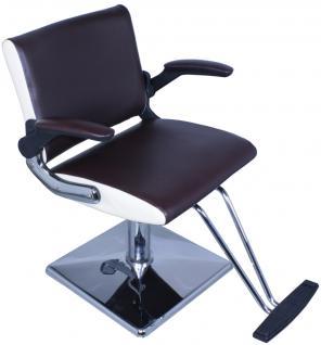 1370 Friseurstuhl PAVIA Sitzfläche braun - Seite creme