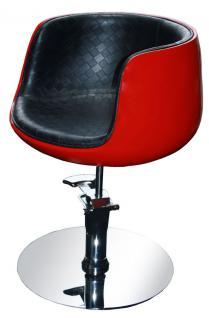 1895 MANGELEXEMPLAR Friseurstuhl PALIANO (Rahmen rot, PVC schwarz) - Vorschau 1