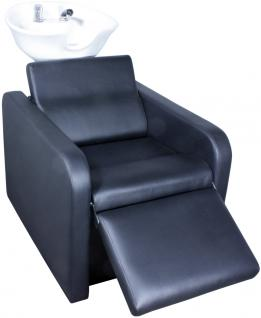 1974 Rückwärtswaschanlage GROSSETO Sockel schwarz / Sitz schwarz / Becken weiß