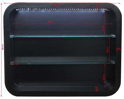 2032 Wandvitrine LOCARNO mit LED Schleiflack schwarz - Vorschau 2
