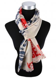 Damen Schal in rot blau grau creme mit Motiv Gr. 180 cm x 105 cm - Tuch Halstuch