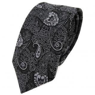 schmale TigerTie Krawatte in anthrazit schwarz grau gemustert Paisley - Binder