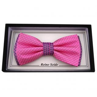 Designer Seidenfliege pink violett silber schwarz gemustert - Fliege 100% Seide
