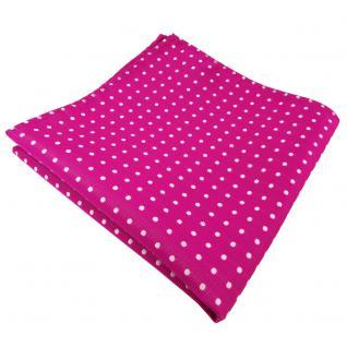 schönes Einstecktuch in magenta fuchsia silber gepunktet - Tuch 100% Polyester