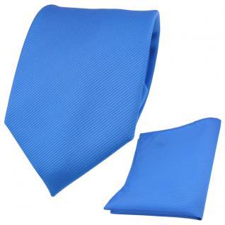Designer TigerTie Krawatte + Einstecktuch blau himmelblau hellblau Uni Rips