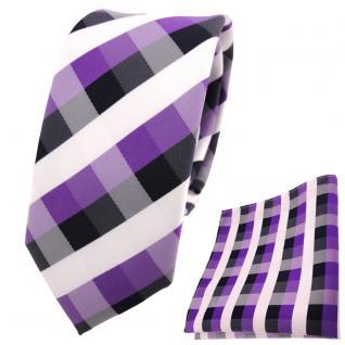 schmale TigerTie Krawatte + Einstecktuch lila blau royal weiß kariert