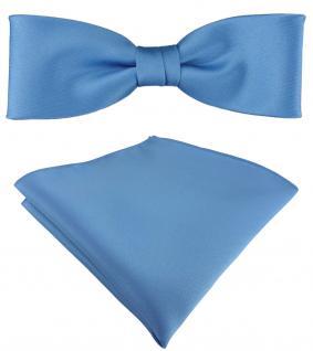 vorgebundete schmale TigerTie Satin Fliege + Einstecktuch in azurblau Uni + Box