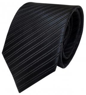 TigerTie Designer Seidenkrawatte schwarz gestreift - Krawatte Seide Silk Tie