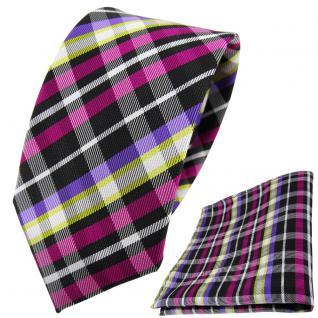 schmale TigerTie Krawatte + Einstecktuch magenta lila gelb schwarz silber kariert