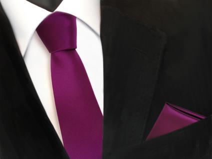 schmale TigerTie Schlips Krawatte + Einstecktuch magenta fuchsia uni Binder Tie