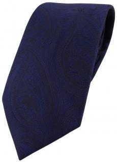 TigerTie Designer Krawatte blau dunkelblau marin schwarz paisley muster - Tie