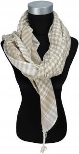 Halstuch beige braun grau kariert mit Fransen an zwei Seiten - Gr. 100 x 100 cm