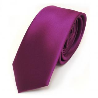 schmale TigerTie Satin Krawatte lila magenta fuchsia uni - binder schlips tie