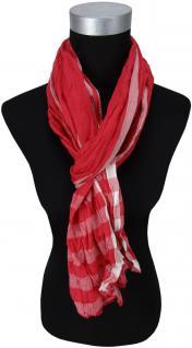 gecrashter Schal in rot weiß mit Streifen - Tuch Gr. 180 x 50 cm