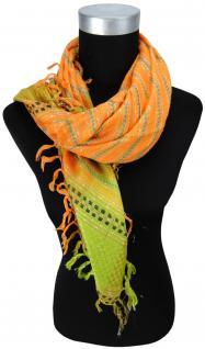 Halstuch in orange grün blau schwarz silber mit Fransen - Glitzerfaden eingewebt