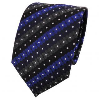 TigerTie Designer Krawatte blau schwarz anthrazit silber gestreift - Binder Tie
