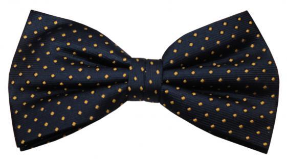 Designer Seidenfliege blau royal gold gepunktet - Fliege Seide Silk