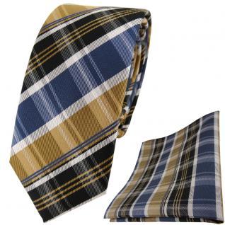 schmale TigerTie Krawatte + Einstecktuch gold blau silbergrau braun gestreift